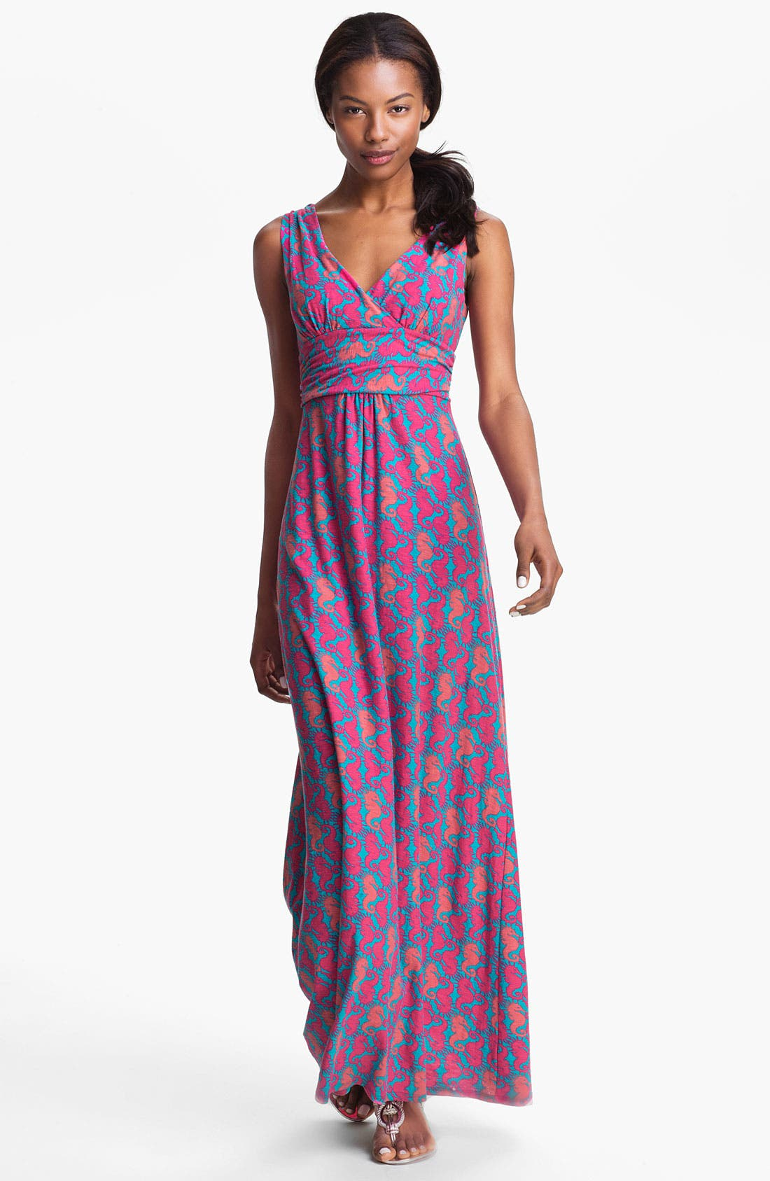 Main Image - Lilly Pulitzer® 'Sloane' Seahorse Print Cotton Maxi Dress