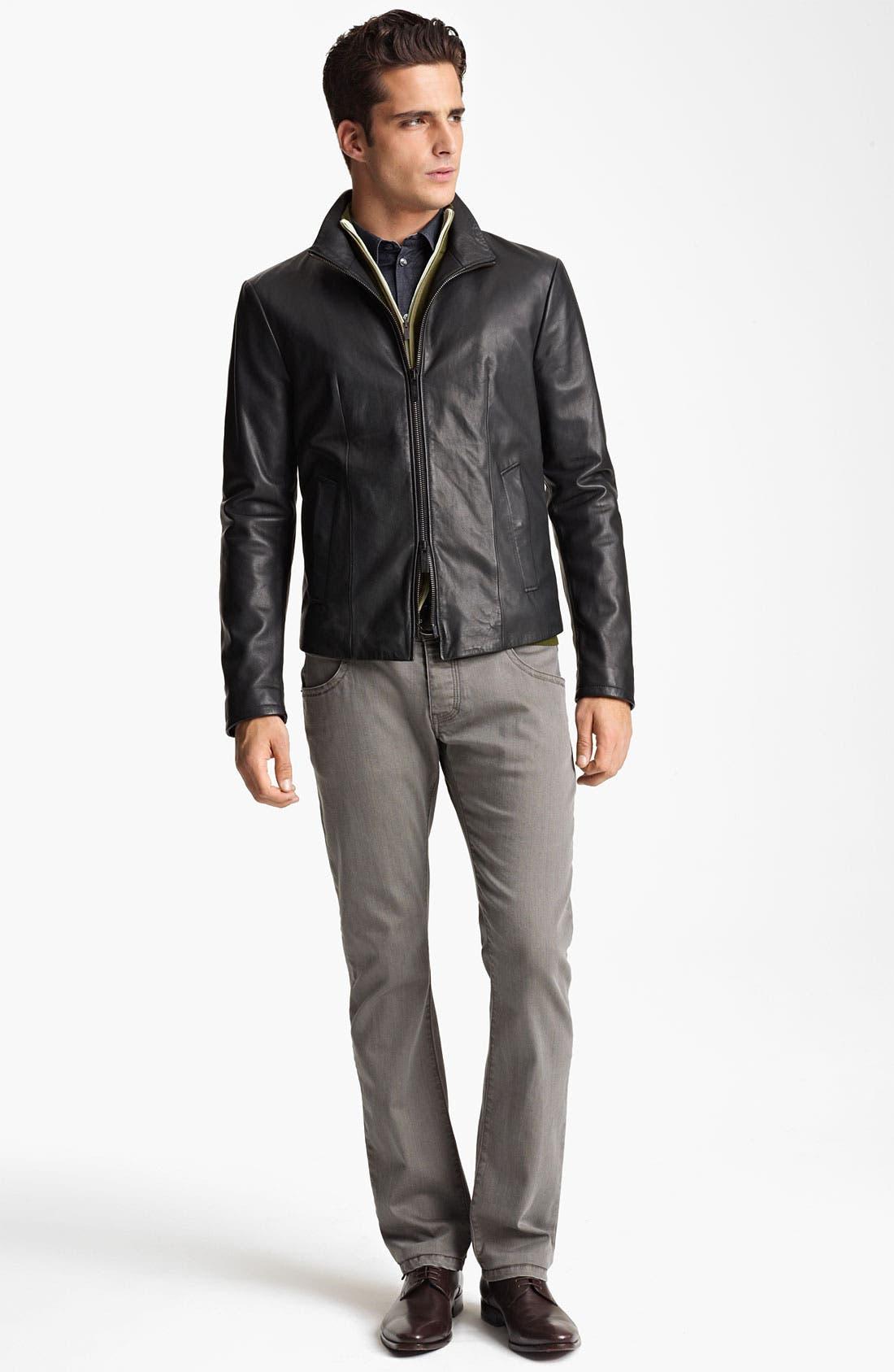 Alternate Image 4  - Armani Collezioni Perforated Leather Jacket