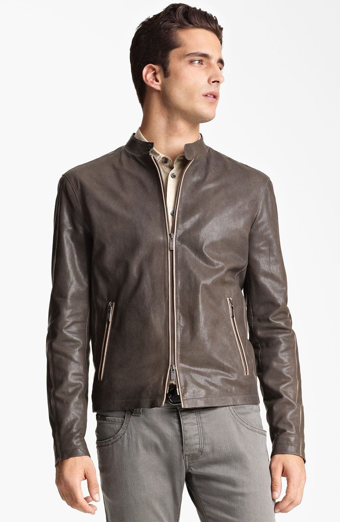 Alternate Image 1 Selected - Armani Collezioni Leather Jacket