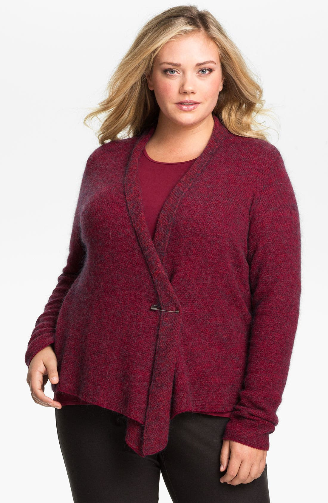 Alternate Image 1 Selected - Eileen Fisher Draped Cardigan (Plus)