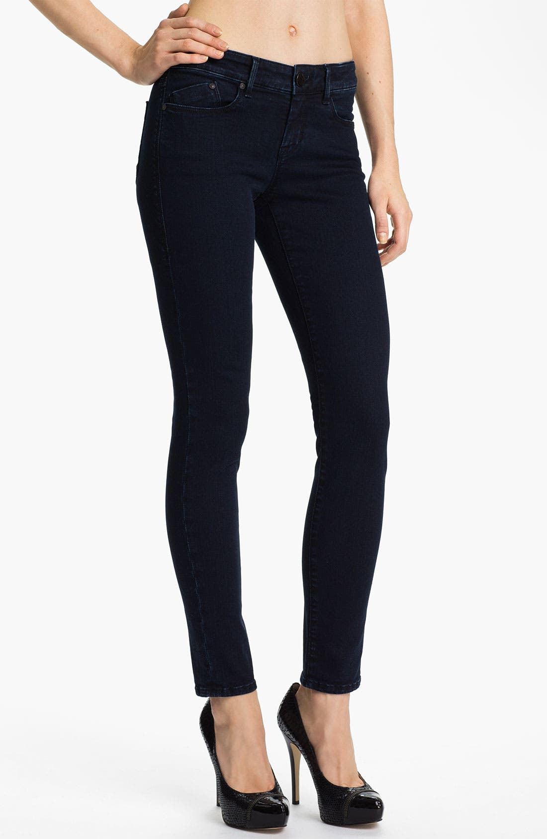 Alternate Image 1 Selected - Dylan George Mid Rise Skinny Jeans (Shadow Blue)