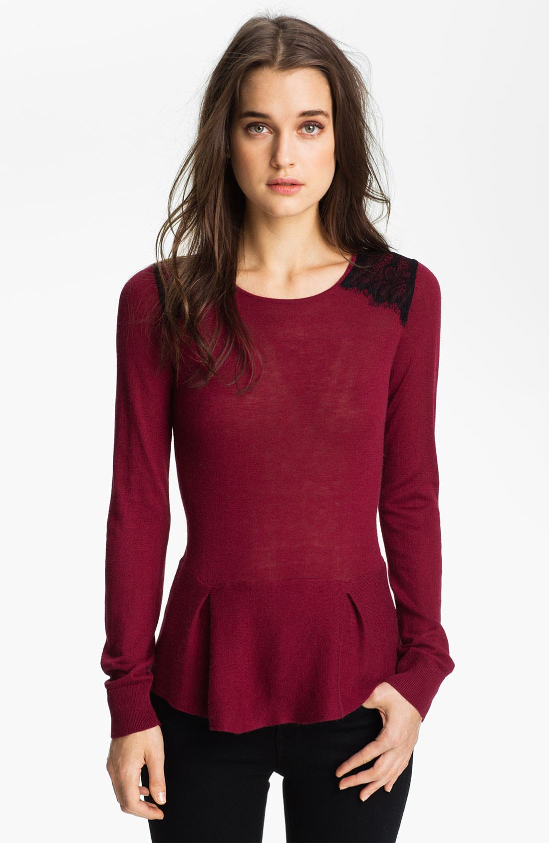 Alternate Image 1 Selected - Hinge® Lace Shoulder Peplum Sweater