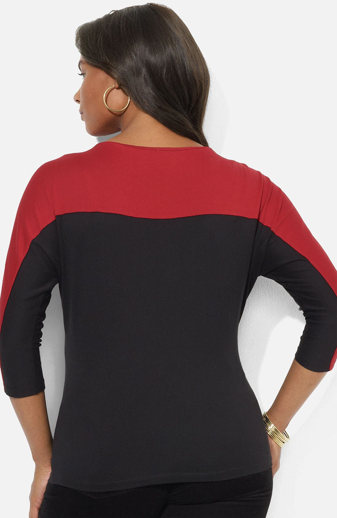 Alternate Image 2  - Lauren Ralph Lauren Colorblock Boatneck Tee (Plus)