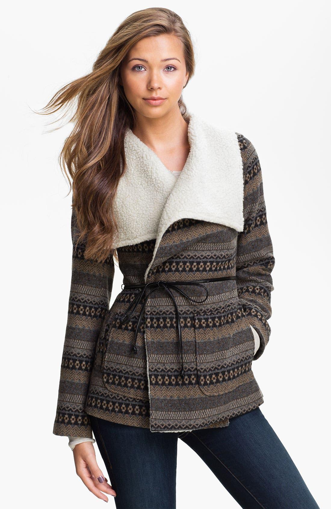Main Image - Jolt Faux Shearling Collar Blanket Coat (Juniors)