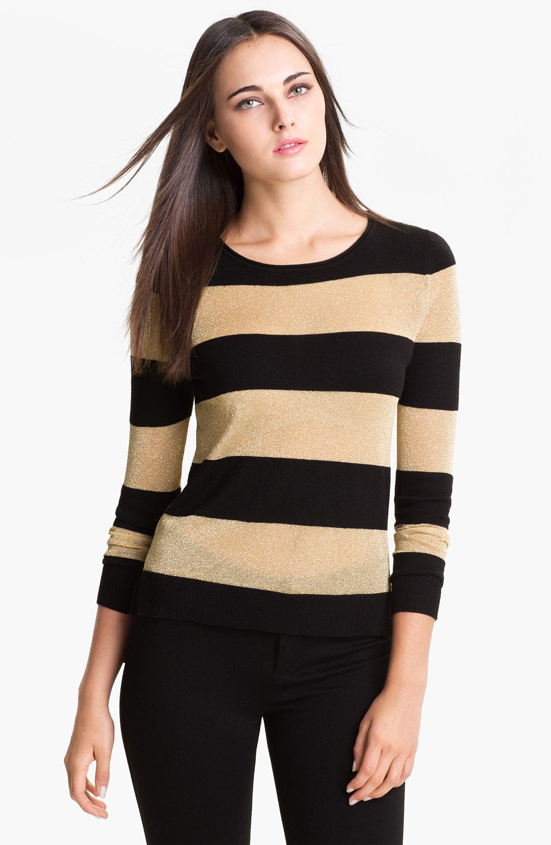 Alternate Image 1 Selected - Vince Camuto Metallic Stripe Sweater