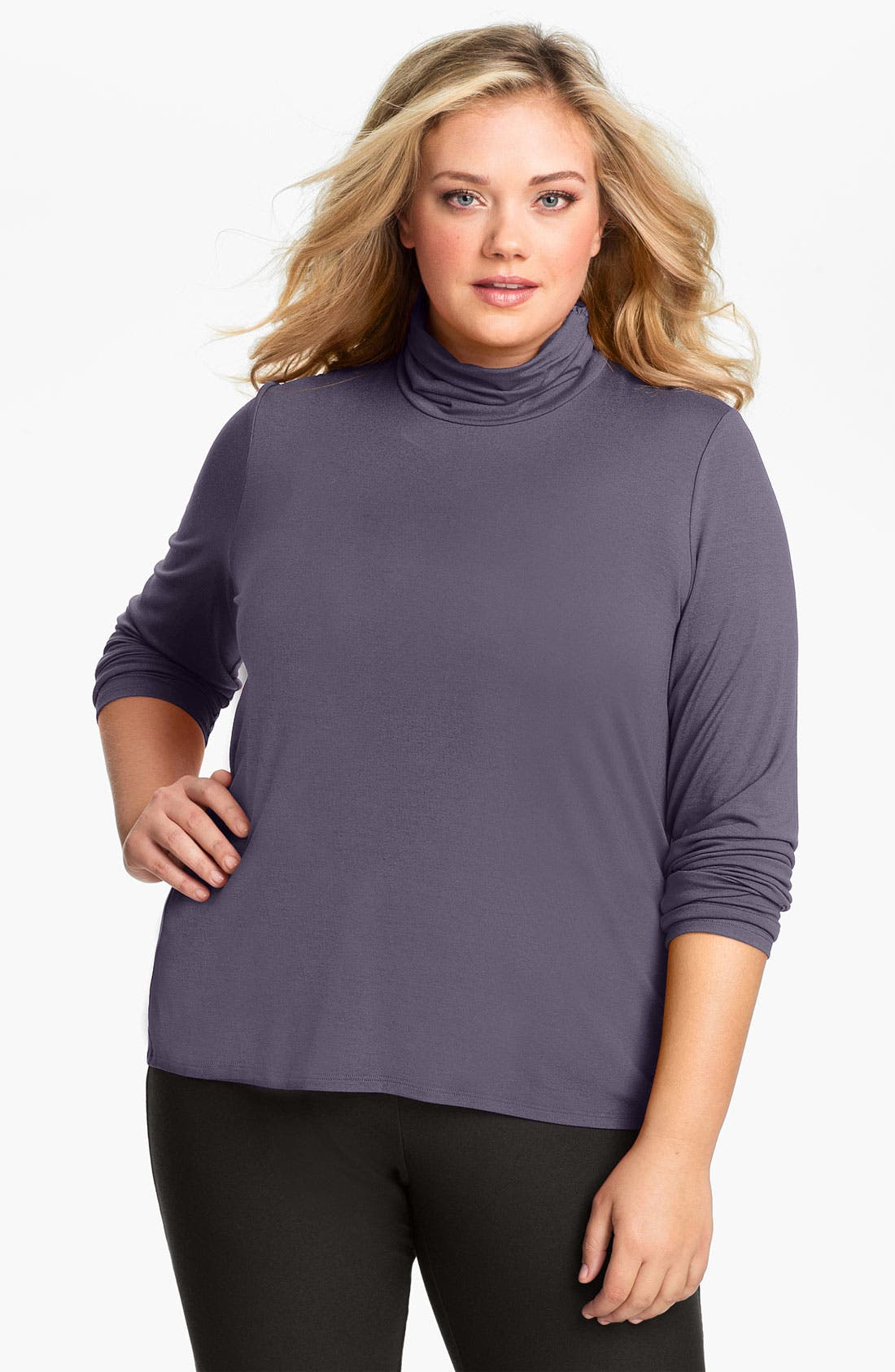 Alternate Image 1 Selected - Eileen Fisher Scrunch Neck Top (Plus)