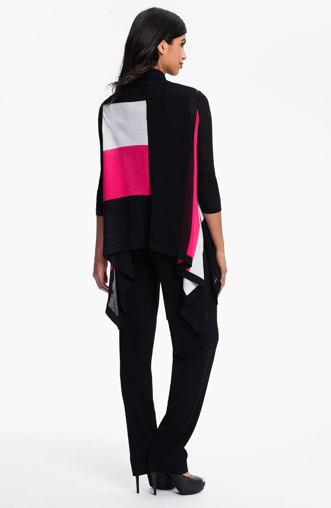 Alternate Image 5  - Exclusively Misook Open Front Colorblock Cardigan