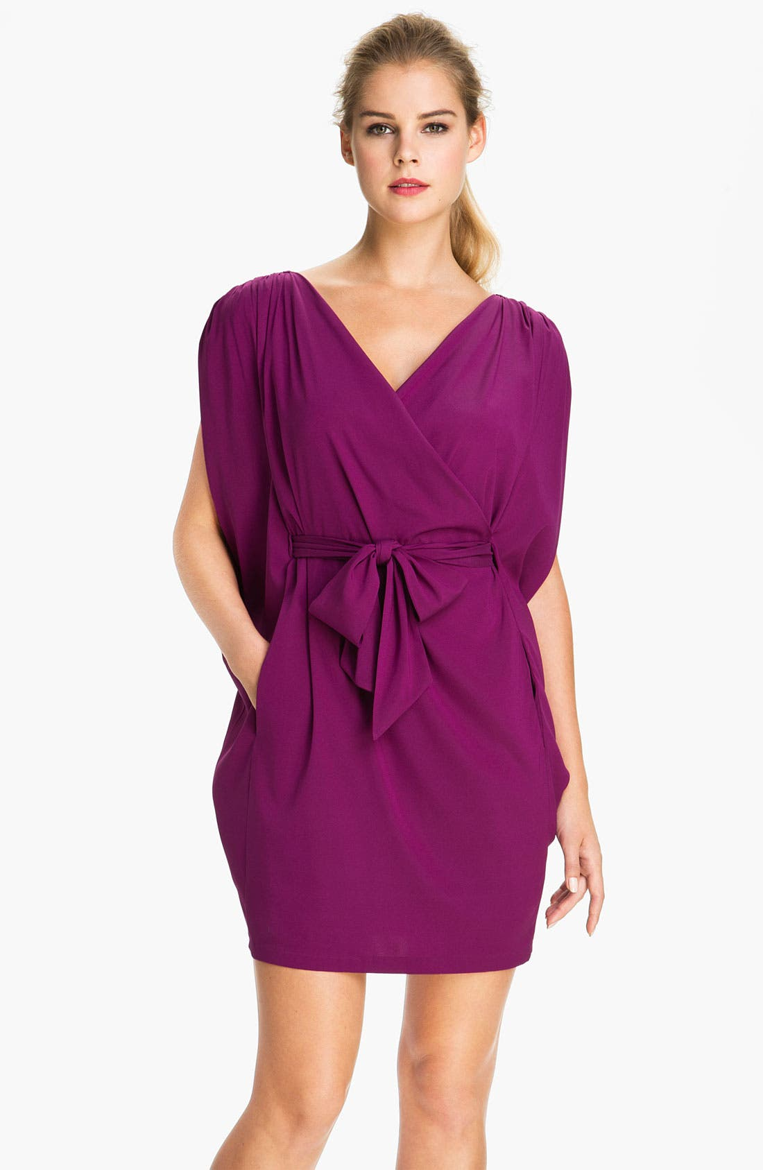 Main Image - Suzi Chin for Maggy Boutique Batwing Sleeve Surplice Dress