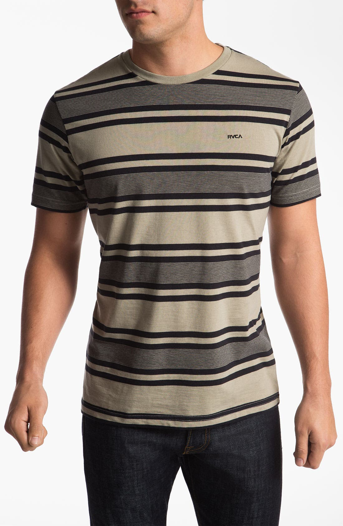 Alternate Image 1 Selected - RVCA 'SOS' Stripe Crewneck T-Shirt