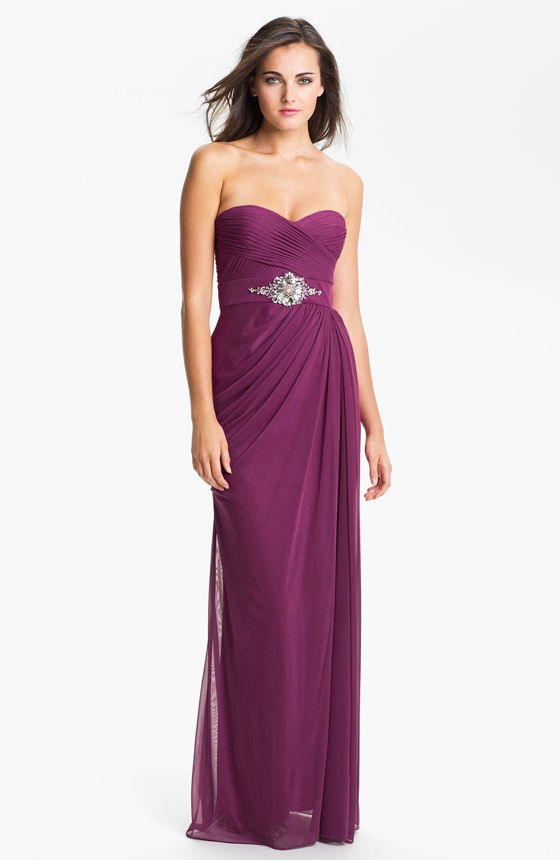 Alternate Image 1 Selected - Adrianna Papell Strapless Draped Mesh Column Gown