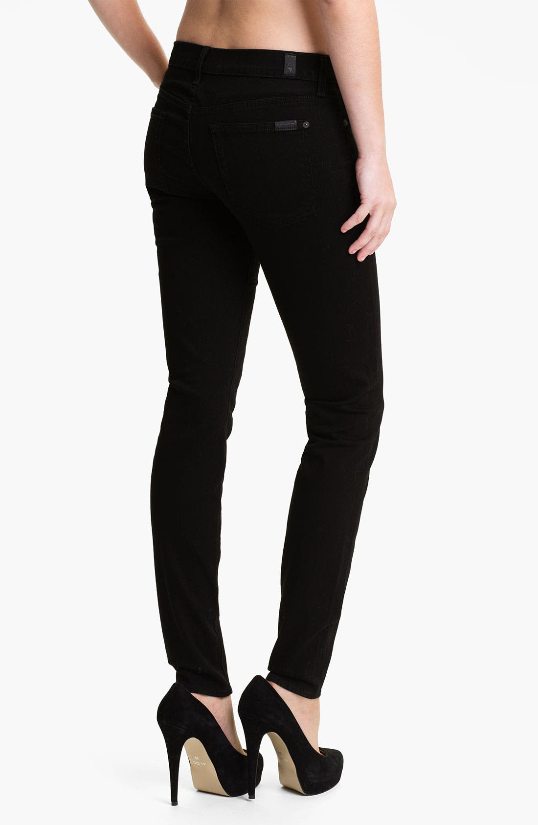 Alternate Image 2  - 7 For All Mankind® 'The Skinny' Stretch Jeans (Clean Black)