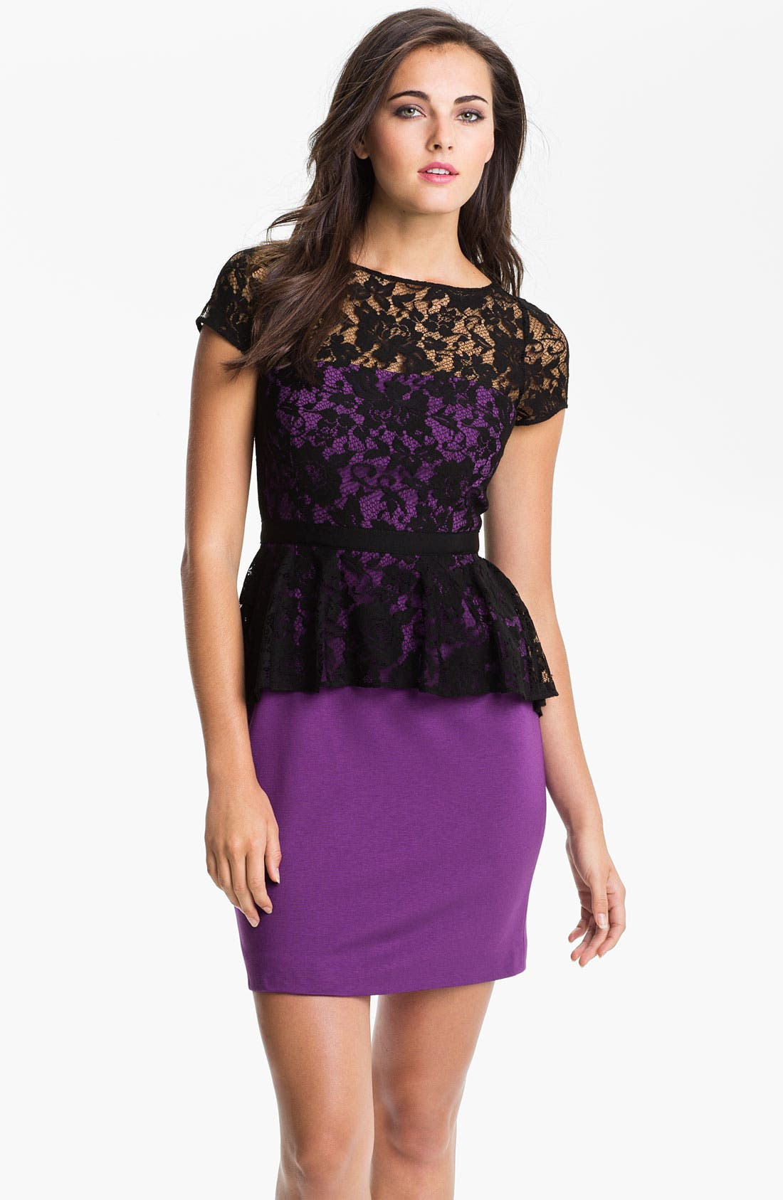 Main Image - Donna Morgan Lace Overlay Peplum Dress