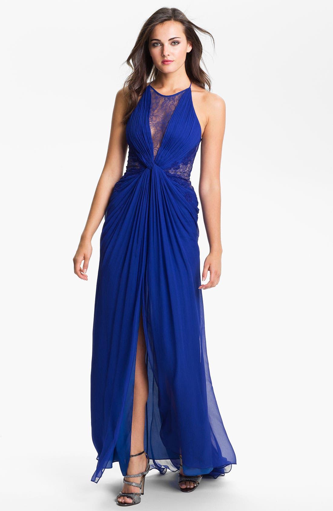 Main Image - BCBGMAXAZRIA Lace Inset Textured Silk Chiffon Gown