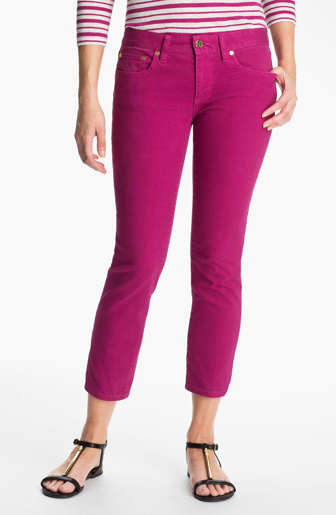 Main Image - Tory Burch 'Alexia' Crop Skinny Stretch Jeans
