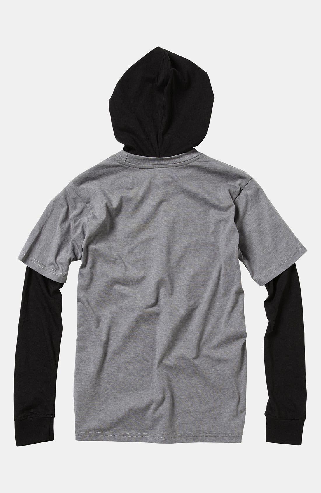 Alternate Image 2  - Quiksilver 'Meddle' Layered Sleeve Hoodie (Toddler)