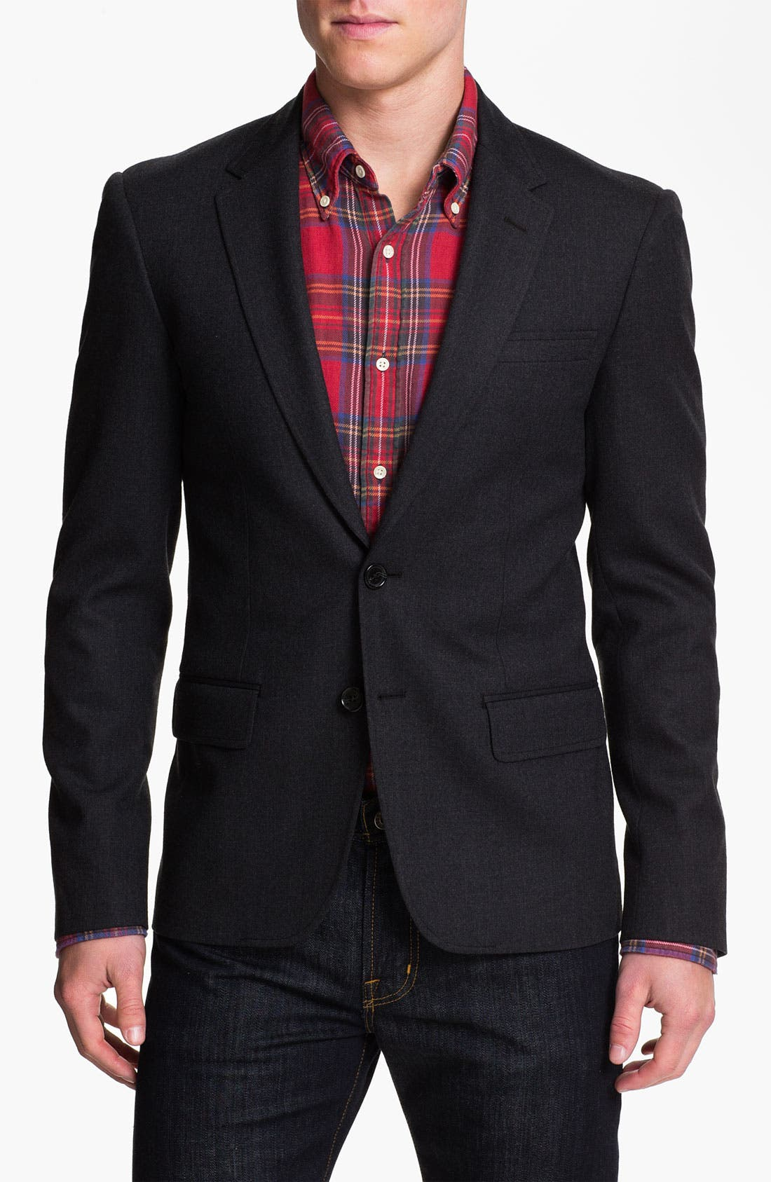 Main Image - Michael Kors Wool Blend Blazer with Leather Trim