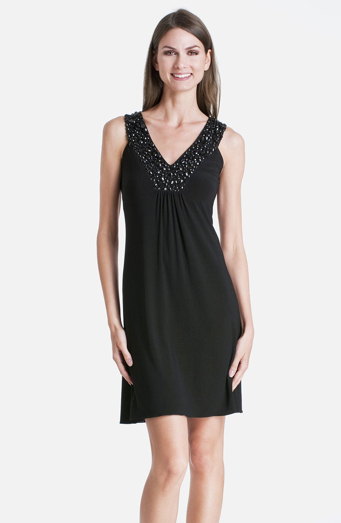 Alternate Image 1 Selected - JS Boutique Beaded V-Neck Jersey Dress