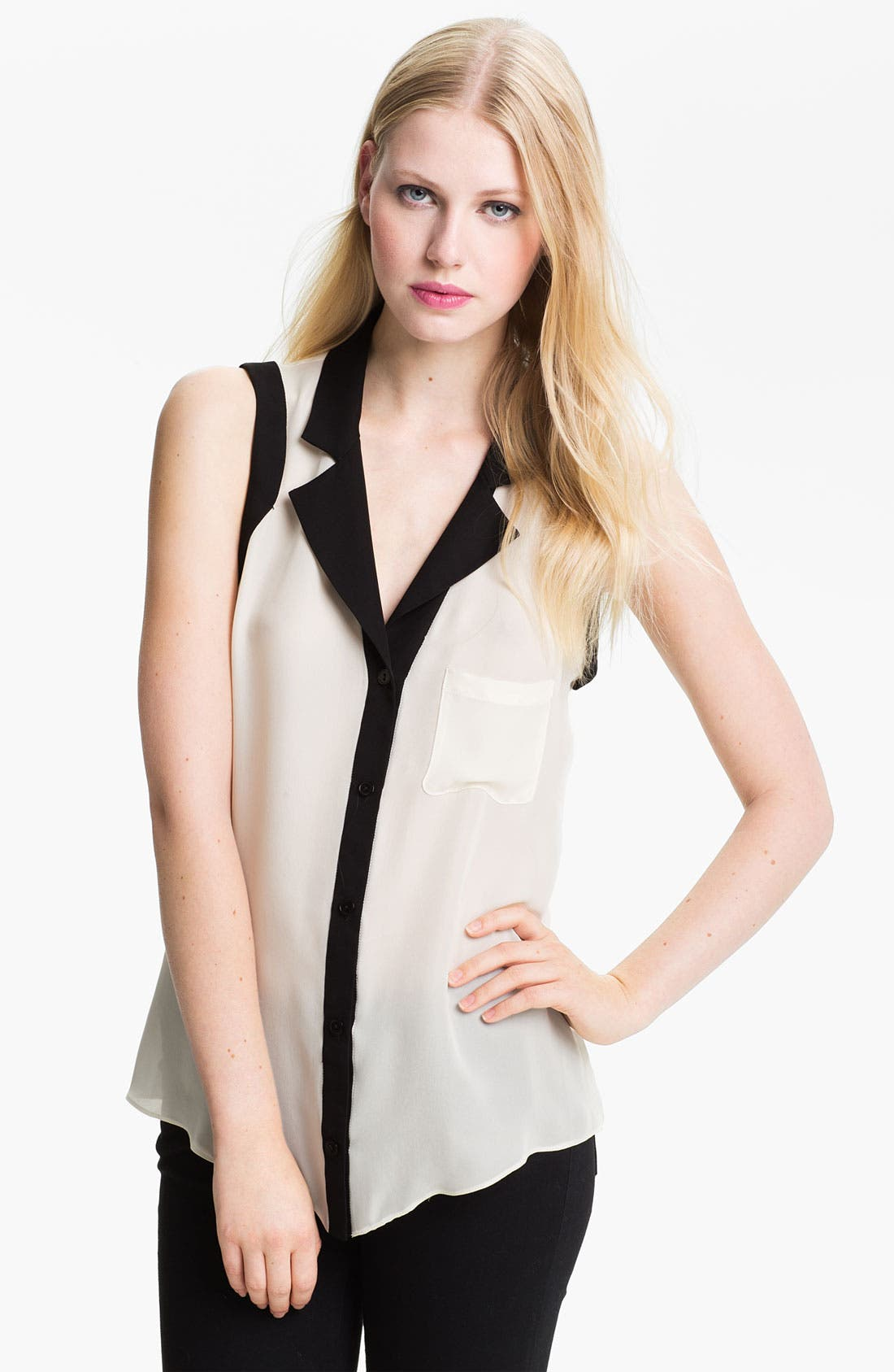 Alternate Image 1 Selected - Parker Open Back Silk Georgette Blouse