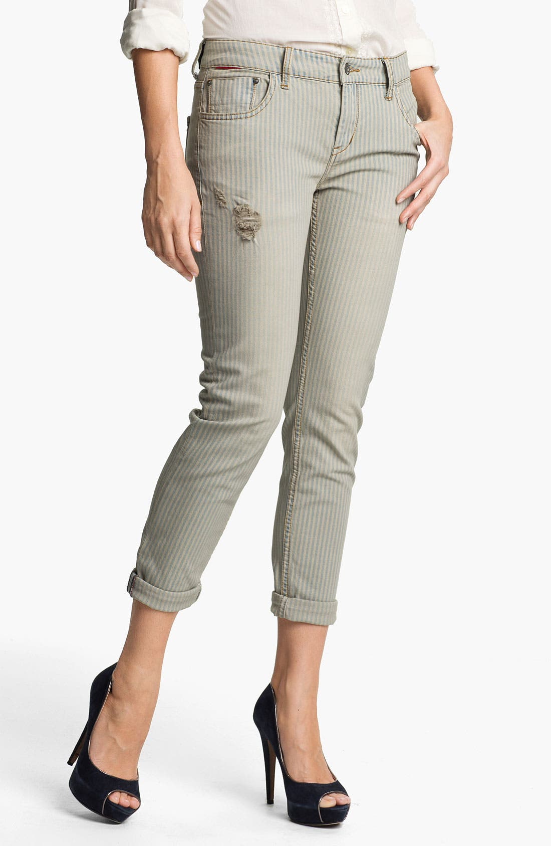 Alternate Image 1 Selected - !iT Collective 'My New Boy' Stripe Ankle Length Straight Leg Jeans