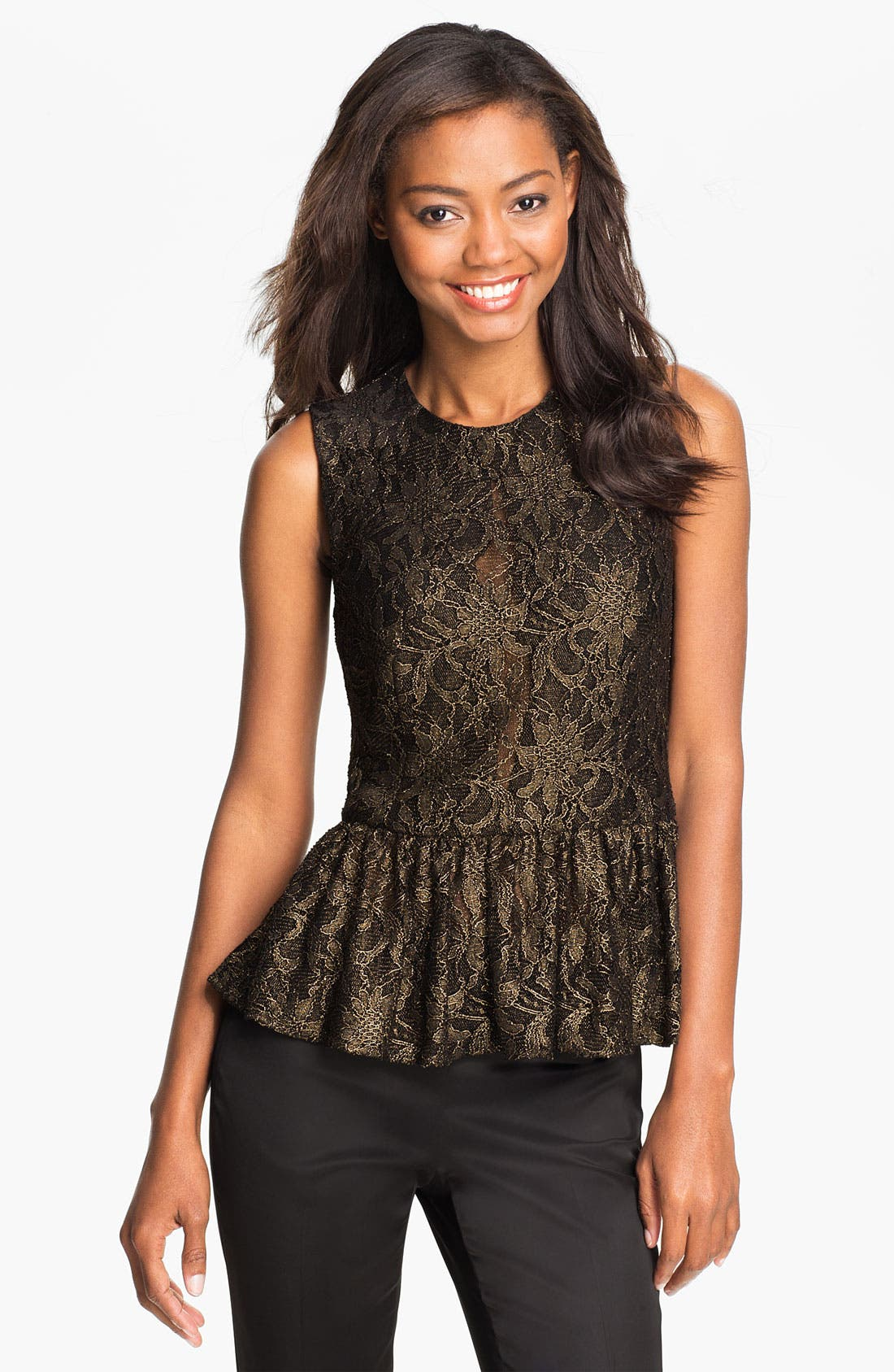Alternate Image 1 Selected - Vince Camuto Metallic Lace Peplum Top