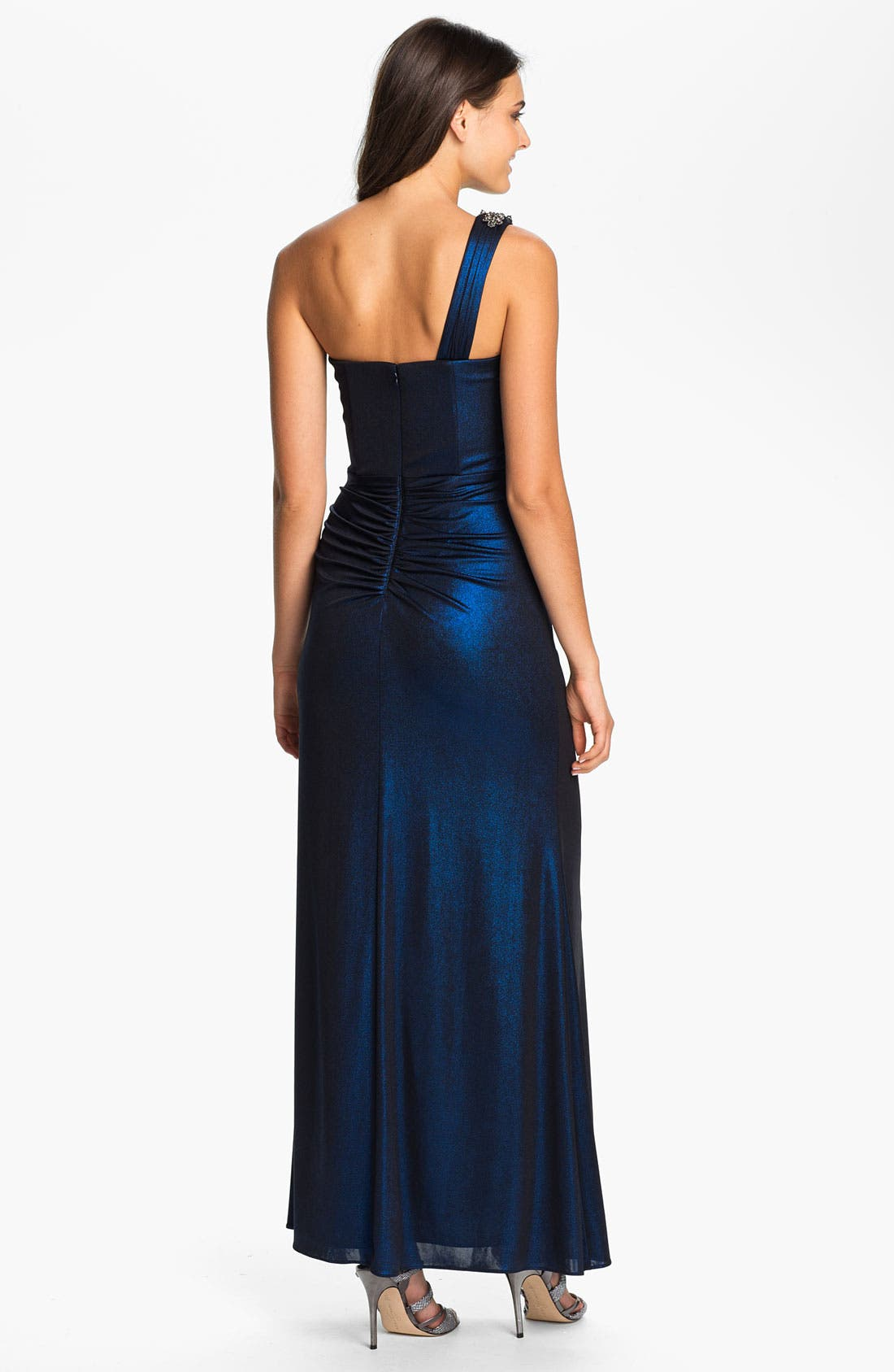 Alternate Image 2  - Xscape One Shoulder Ruched Jersey Gown