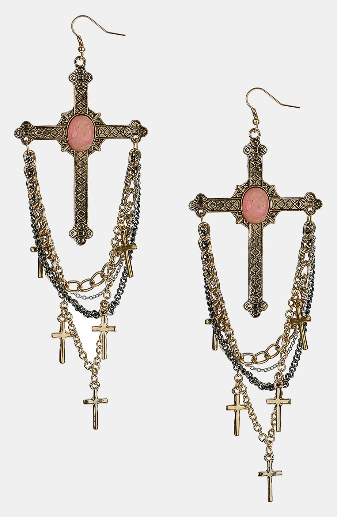 Main Image - Topshop Mixed Metal Cross & Chain Drop Earrings