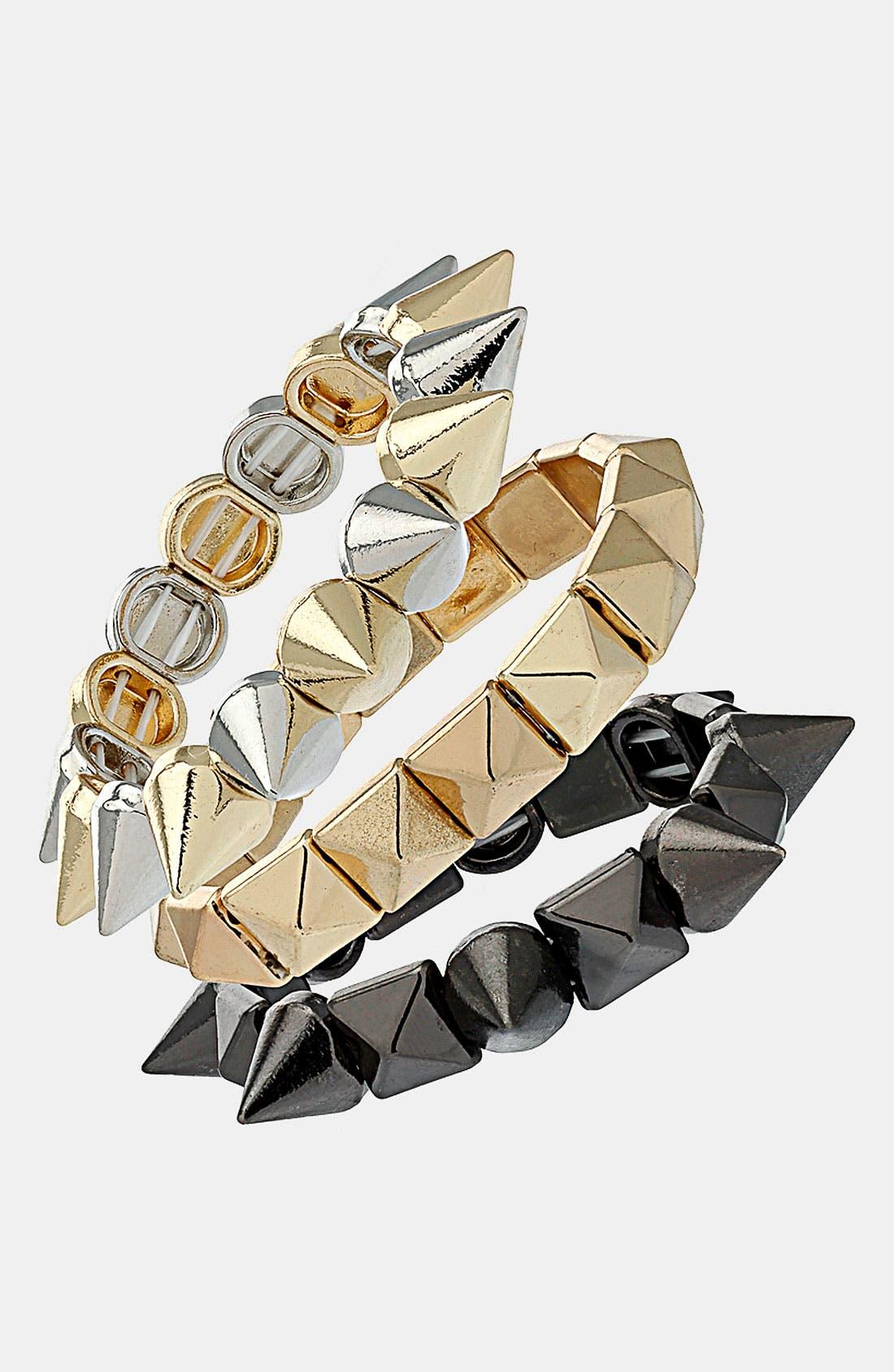 Main Image - Topshop 'Spike Prism' Stretch Bracelets (Set of 3)