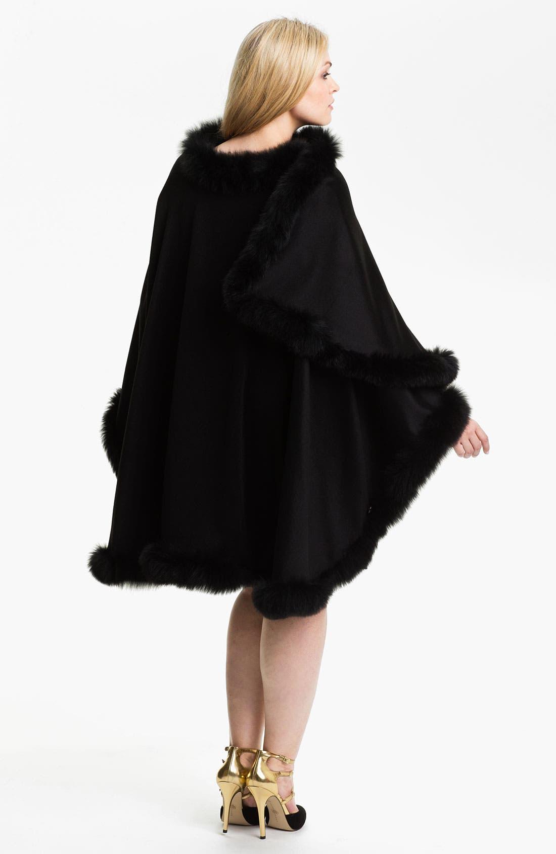 Alternate Image 2  - Dale Dressin Genuine Fox Fur Trim Cape (Plus)