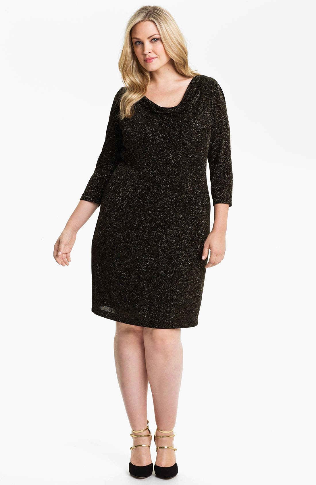 Alternate Image 1 Selected - Adrianna Papell Cowl Neck Sparkle Knit Shift Dress (Plus)