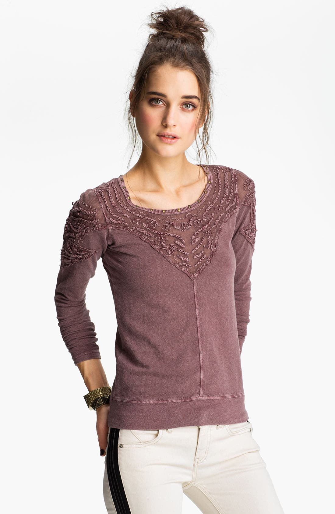 Main Image - Free People 'Barton Springs' Embroidered Shoulder Top