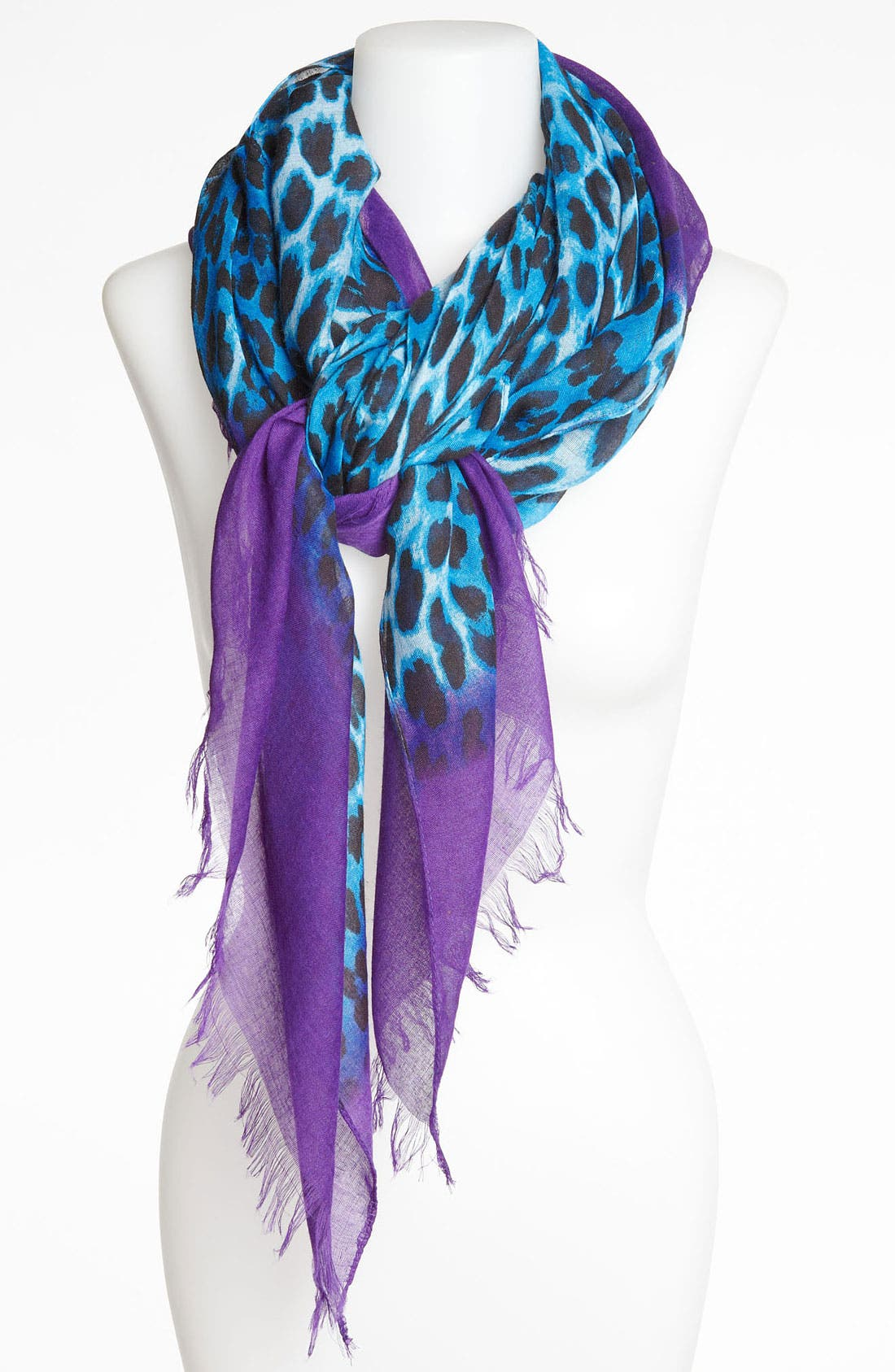 Main Image - Roffe Accessories Leopard Print Dip Dye Scarf