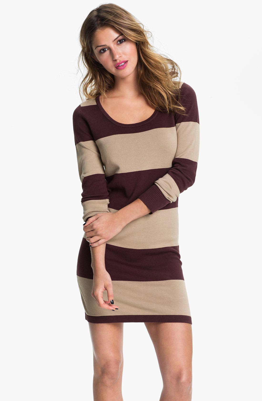 Main Image - BP. 'Rugby Stripe' Sweater Dress (Juniors)