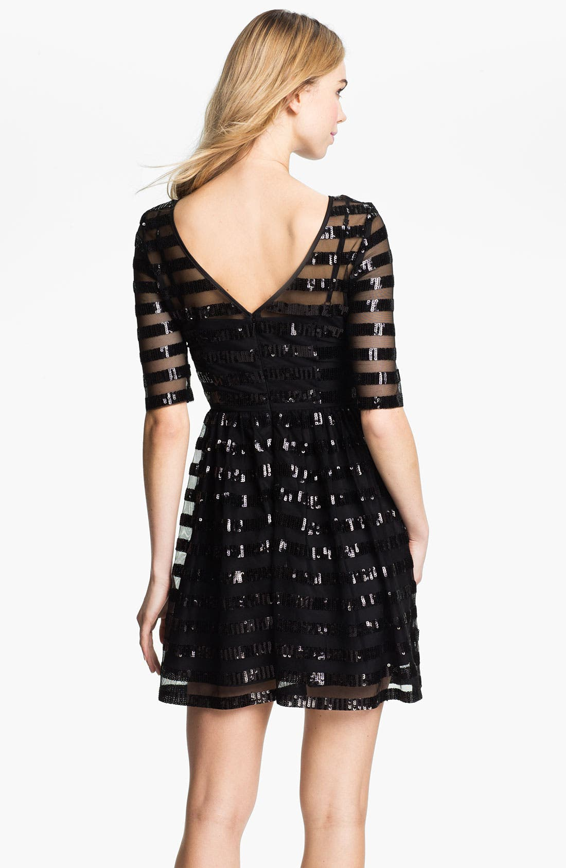 Alternate Image 2  - Max & Cleo Sequin Stripe Overlay Fit & Flare Mesh Dress