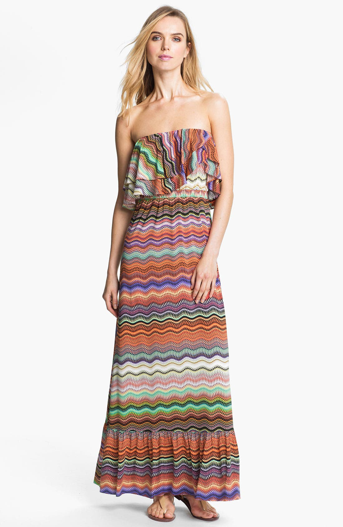 Main Image - Tbags Los Angeles Ruffle Bodice Print Maxi Dress