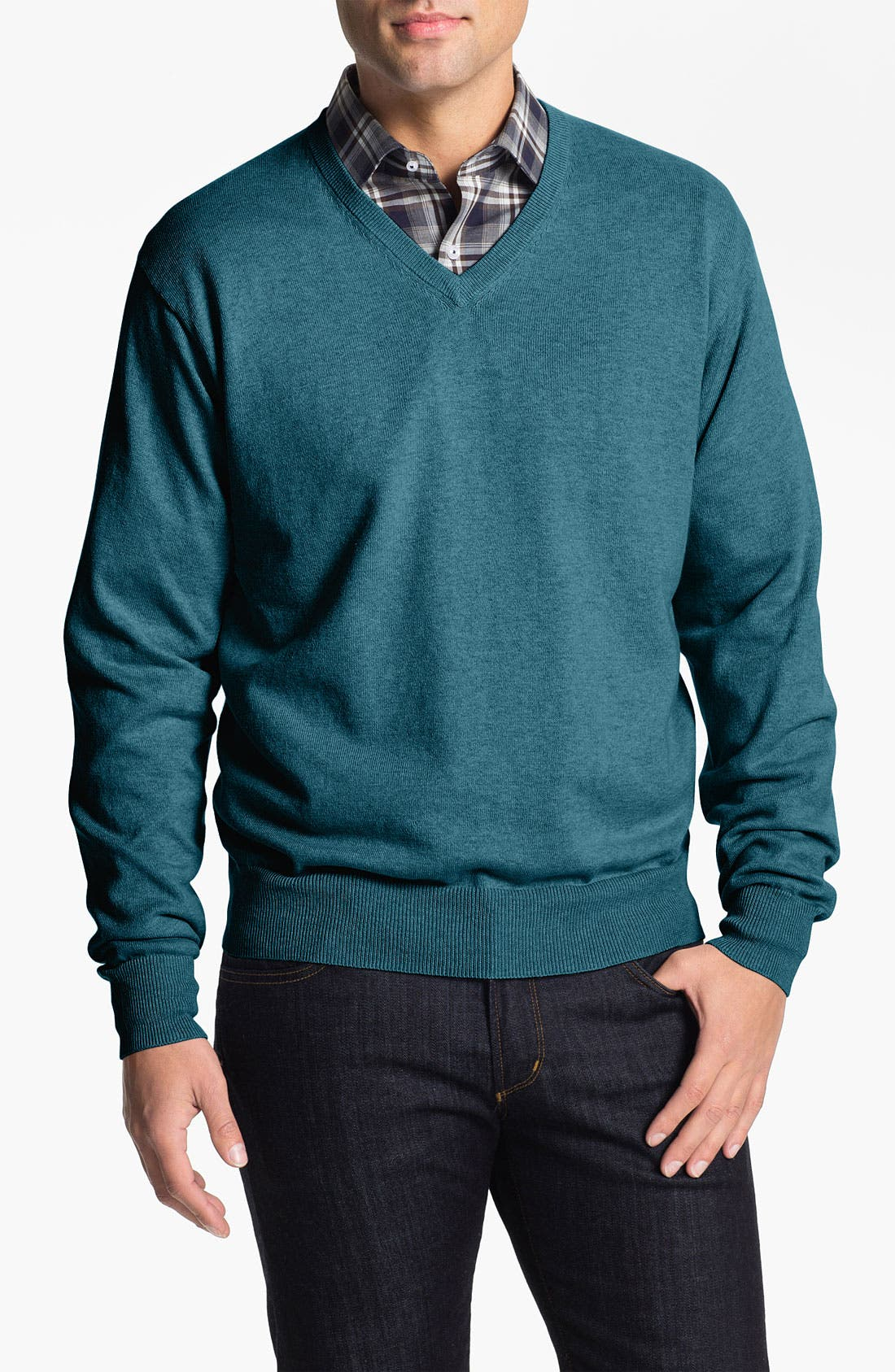 Alternate Image 1 Selected - Peter Millar Cotton & Cashmere V-Neck Sweater