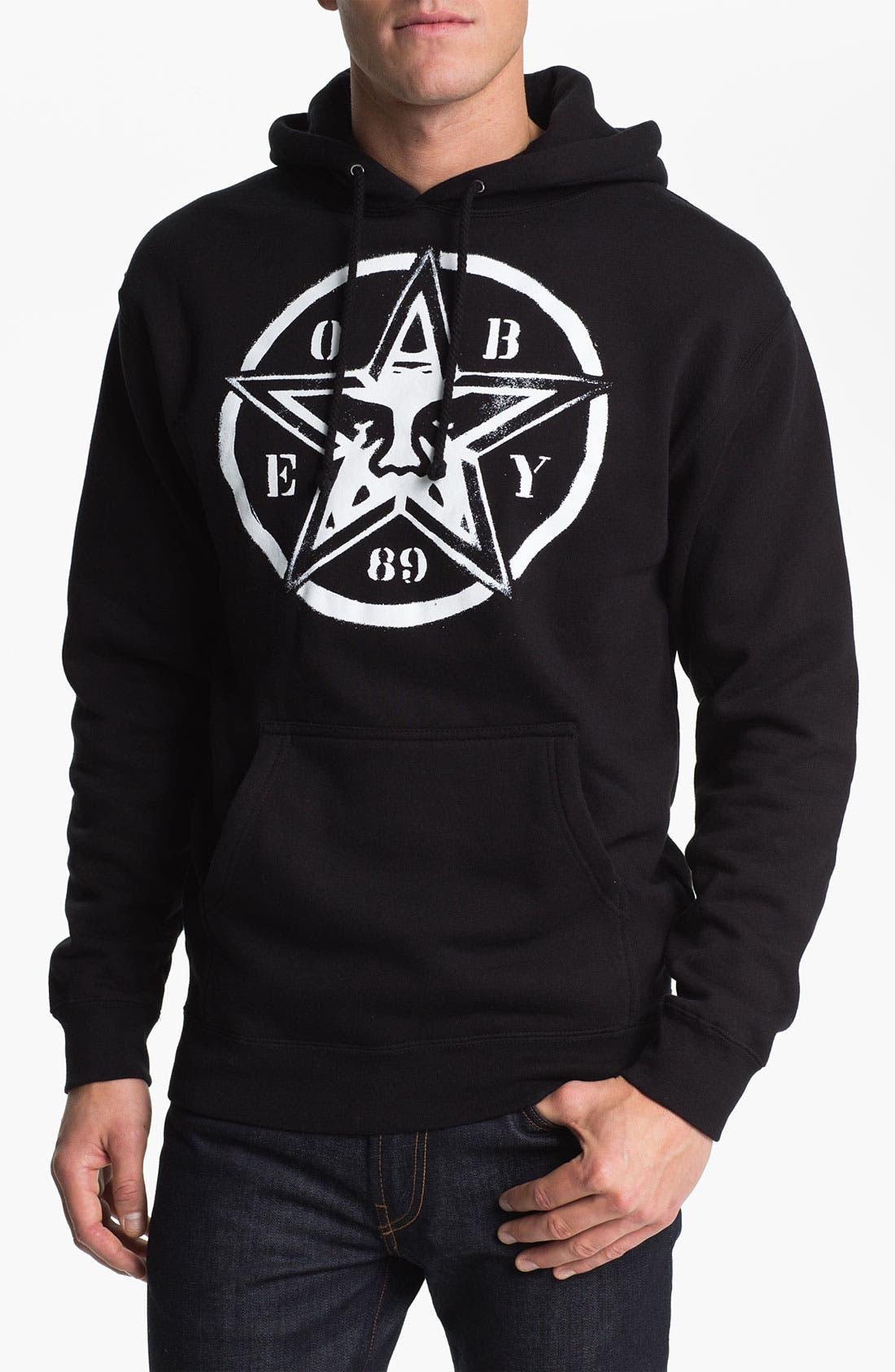 Alternate Image 1 Selected - Obey 'Star Stencil' Regular Fit Hooded Sweatshirt