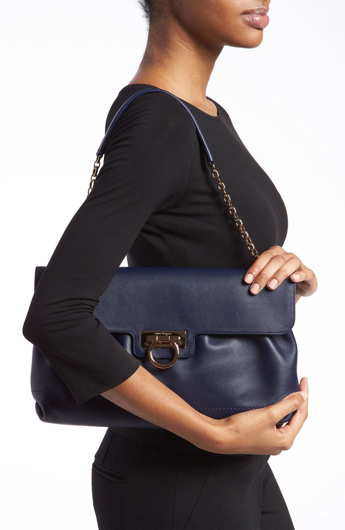 Alternate Image 2  - Salvatore Ferragamo Chain Strap Leather Shoulder Bag