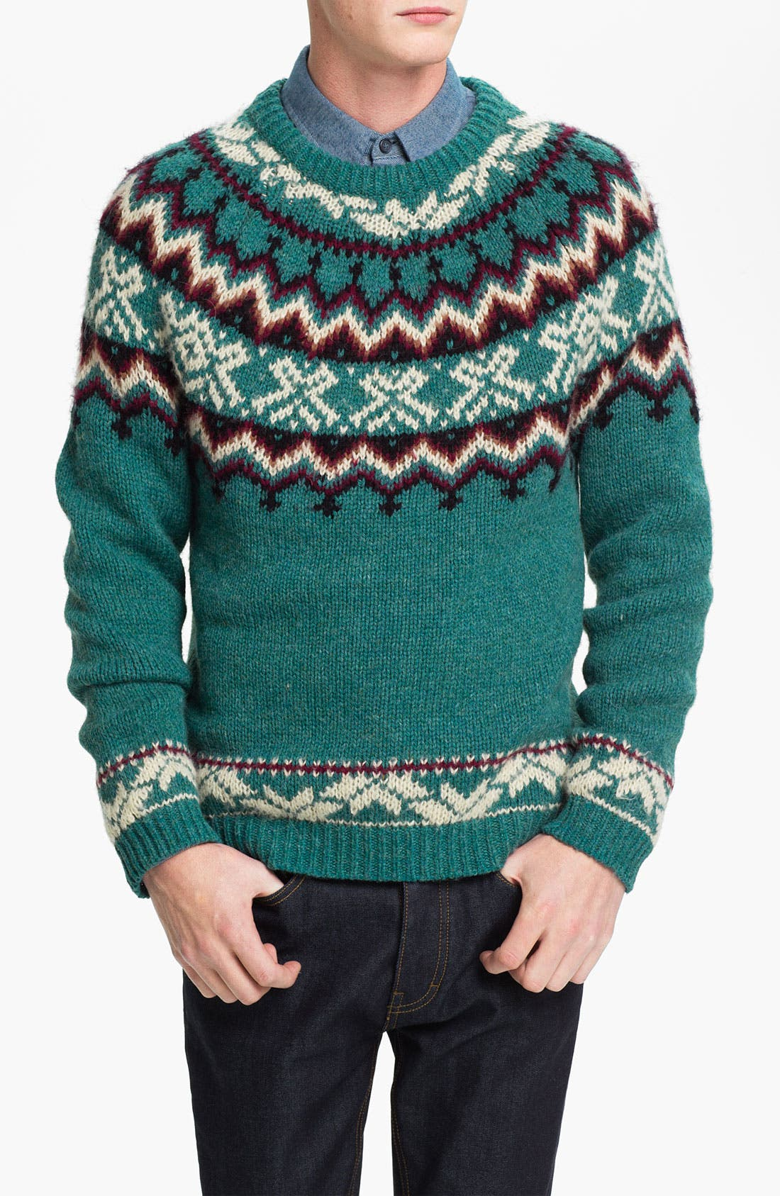 Alternate Image 1 Selected - Topman Pattern Crewneck Sweater