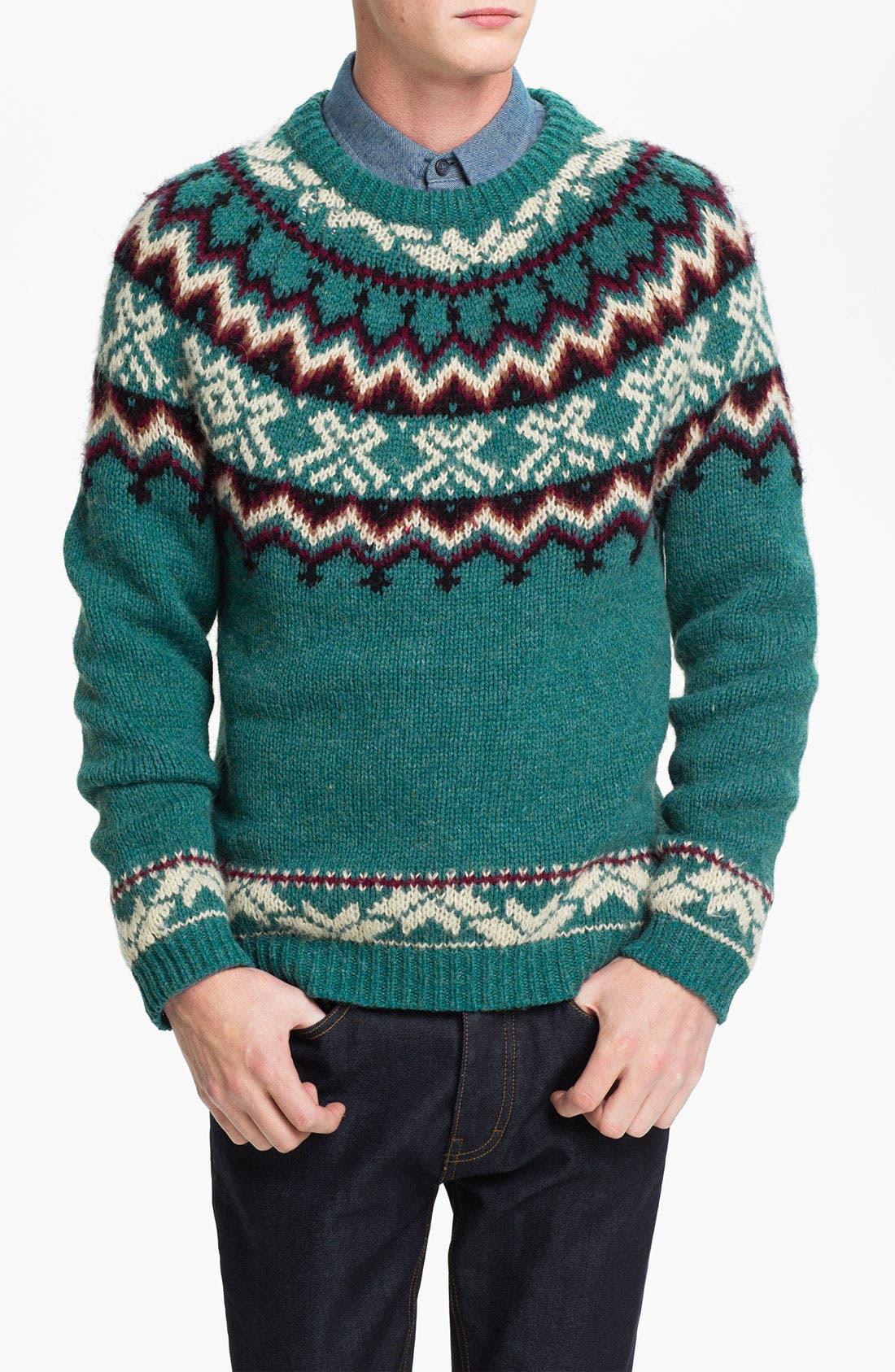 Main Image - Topman Pattern Crewneck Sweater
