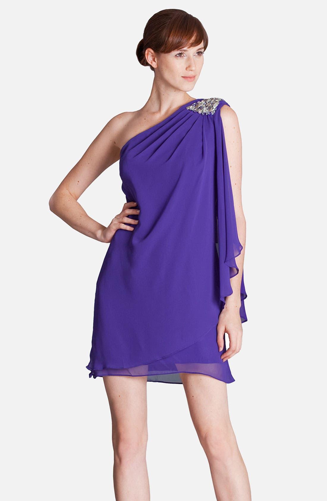 Alternate Image 1 Selected - JS Boutique Embellished One Shoulder Draped Chiffon Dress