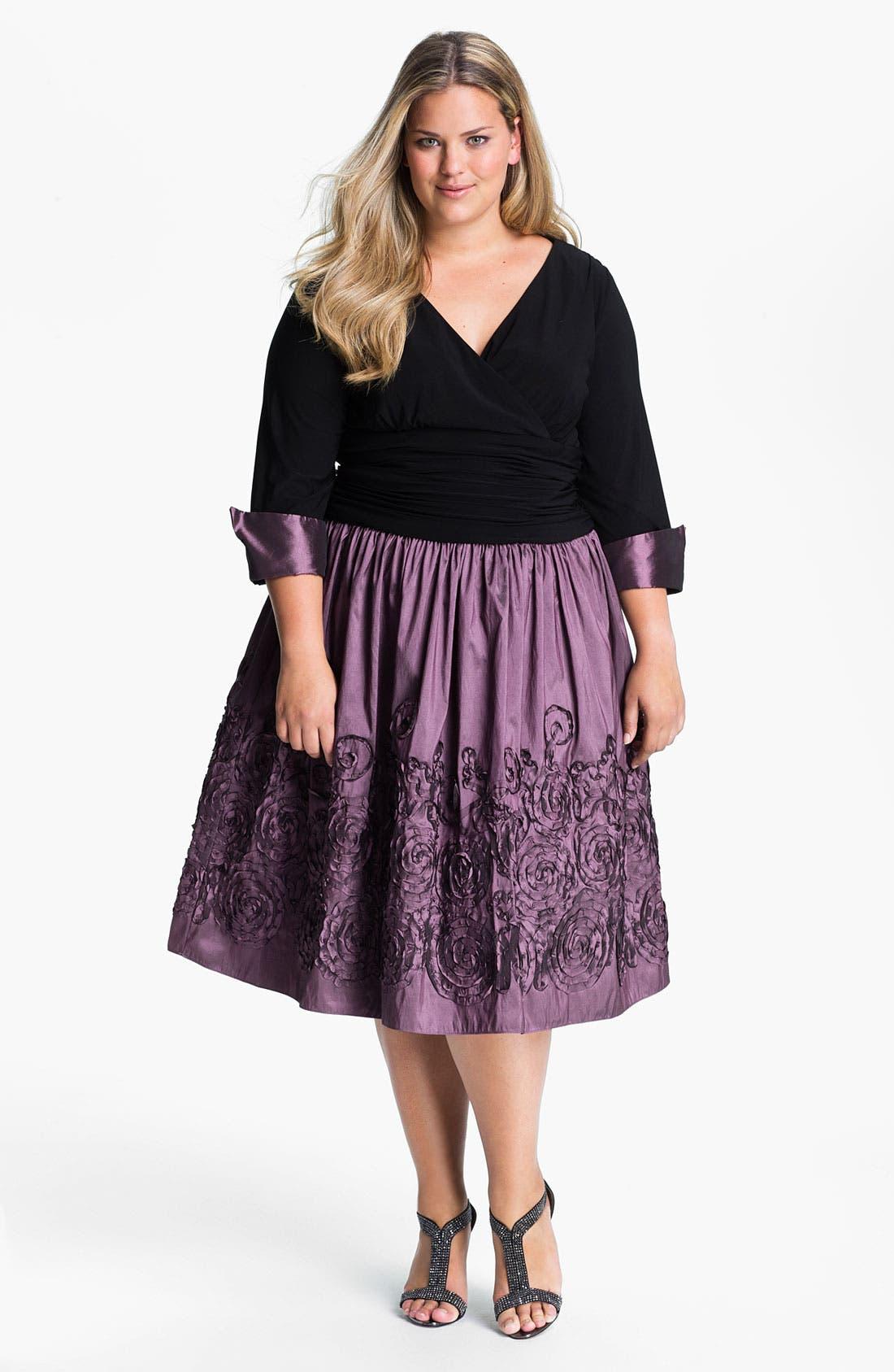 Main Image - Eliza J Mock Two Piece Surplice Dress (Plus)