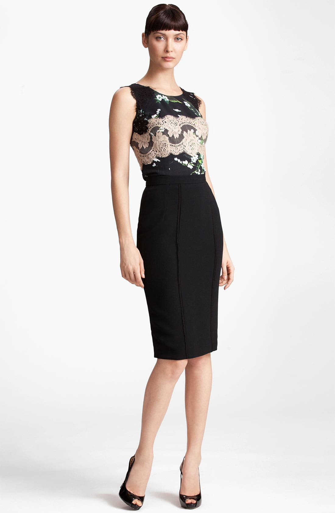 Alternate Image 5  - Dolce&Gabbana Raw Edge Stretch Cady Skirt