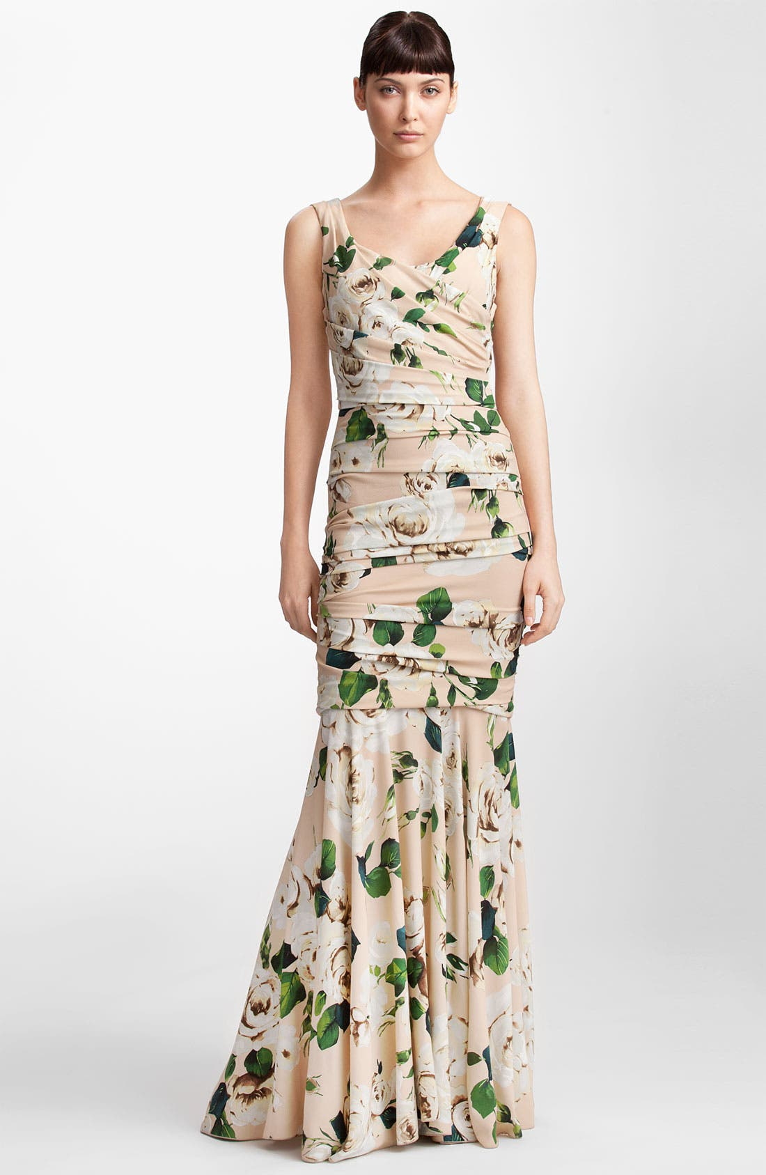 Main Image - Dolce&Gabbana Rose Print Ruched Stretch Cady Gown