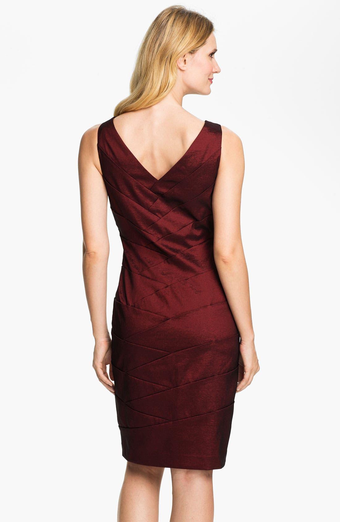 Alternate Image 2  - Adrianna Papell V-Neck Shutter Tuck Sheath Dress