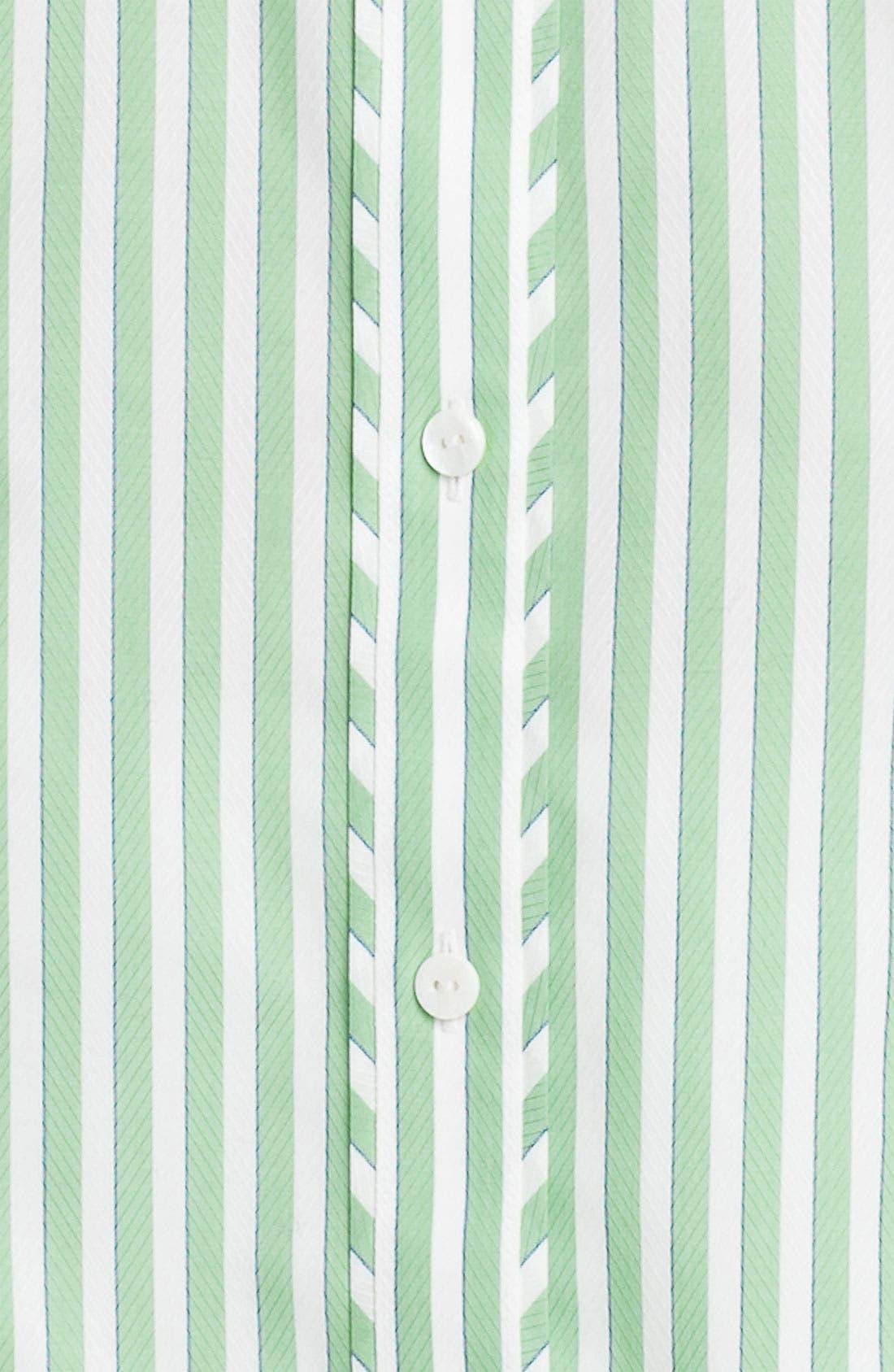Alternate Image 3  - Foxcroft Three Quarter Sleeve Stripe Shirt