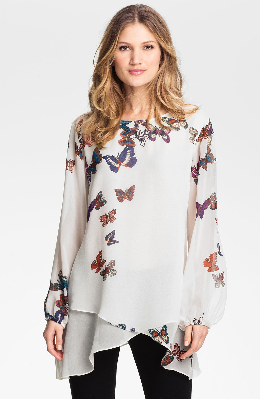 Main Image - Citron Butterfly Print Silk Tunic