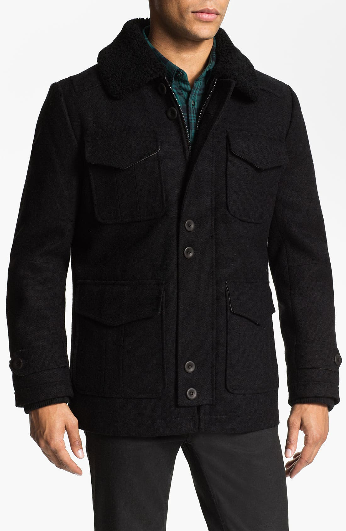 Alternate Image 1 Selected - PLECTRUM by Ben Sherman Shearling Collar Field Jacket