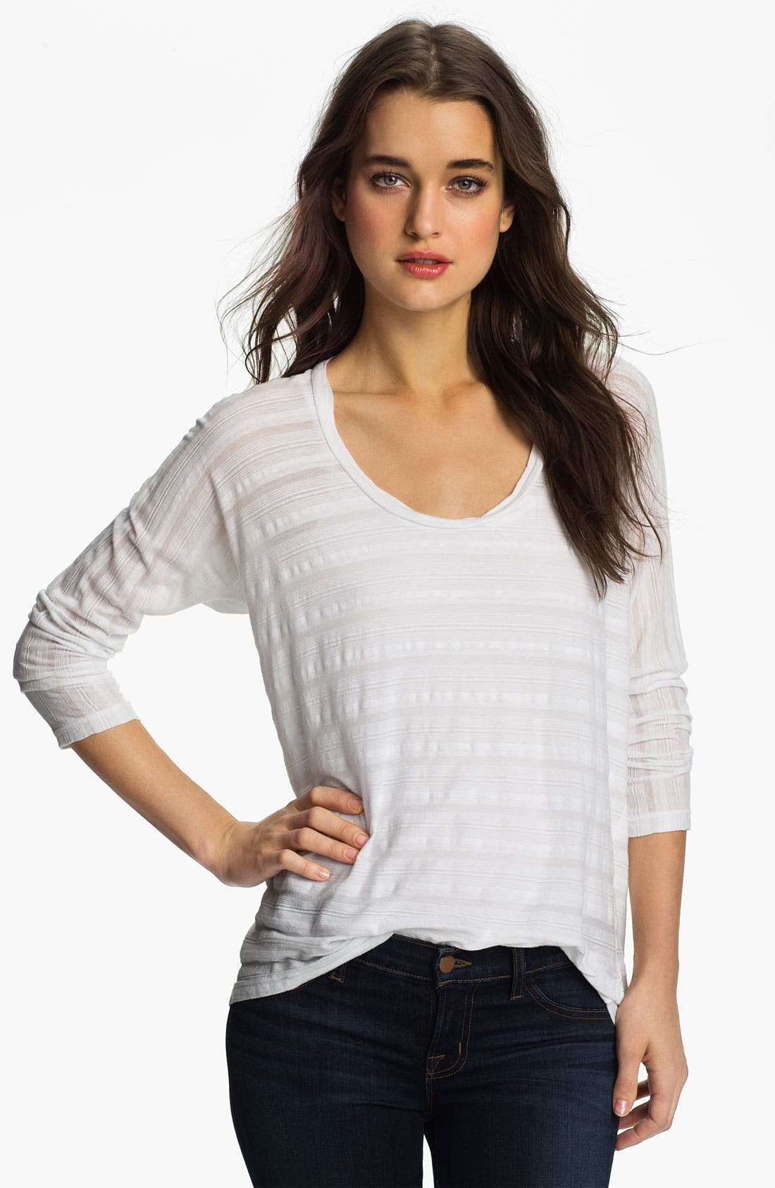 Alternate Image 1 Selected - James Perse Sheer Stripe Dolman Top