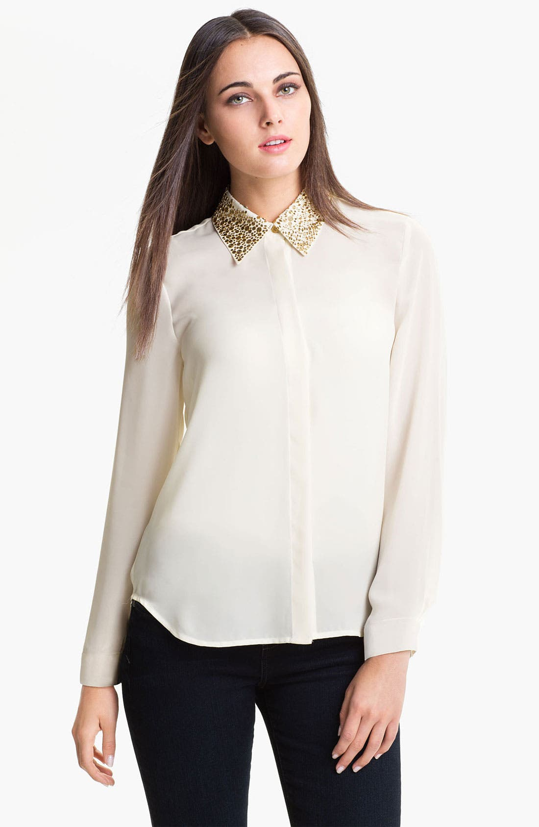 Alternate Image 1 Selected - Vince Camuto 'Disco' Stud Trim Blouse