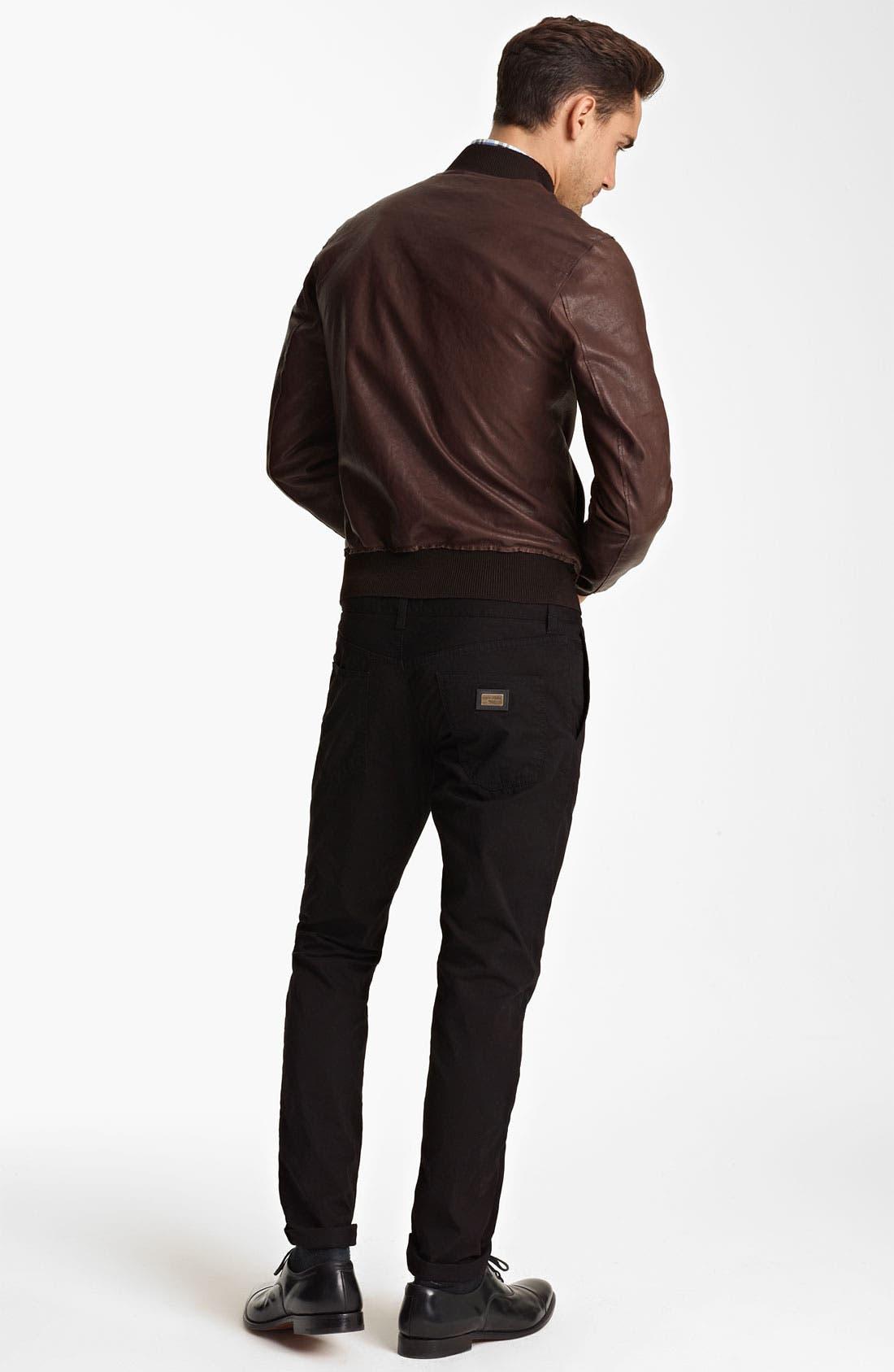 Alternate Image 5  - Dolce&Gabbana Leather Bomber Jacket
